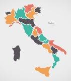 Carte italienne avec des régions et des formes rondes modernes Photo stock