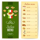 Carte italienne de nourriture Images libres de droits