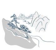 Carte japonaise de Chinois de fond de paysage de vecteur illustration libre de droits