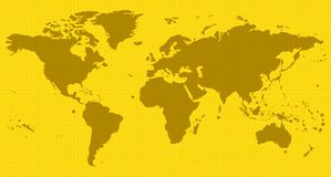 Carte jaune du monde Photo stock