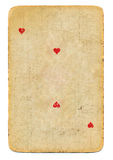 Carte jouante antique du fond de papier de coeurs d'isolement Photo stock