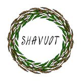 Carte juive de Shavuot de vacances Épillets de blé de guirlande et feuille de Green Bay, texte écrit de main Guirlande ronde de m Images libres de droits