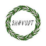 Carte juive de Shavuot de vacances Feuille de Green Bay de guirlande, texte écrit de main Guirlande ronde de malt avec l'espace p Photo stock