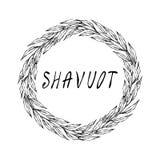 Carte juive de Shavuot de vacances Feuille de Green Bay de guirlande, texte écrit de main Guirlande ronde de malt avec l'espace p Images stock