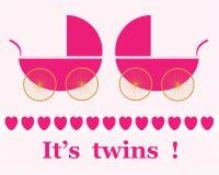 Carte jumelle d'annonce d'arrivée de filles Images stock