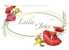 Carte l'épousant florale d'invitation avec des fleurs d'aquarelle illustration libre de droits