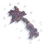 Carte Laos de forme de groupe de personnes Image stock