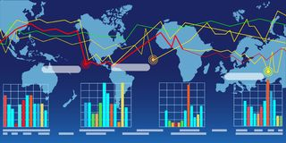 Carte large du monde avec des graphiques Photos libres de droits