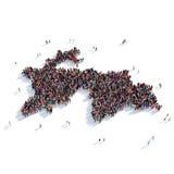 Carte le Tadjikistan de forme de groupe de personnes Photographie stock libre de droits