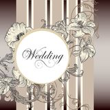Carte élégante d'invitation de mariage avec des fleurs Images stock
