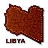 Carte libyenne en cuir de République Photographie stock