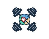 Carte Logo Icon Design de Barbell Illustration de Vecteur