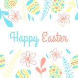Carte lumineuse de vecteur de Pâques Vue avec les oeufs et la fleur illustration stock