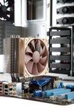 Carte mère avec le refroidisseur de CPU de haut de gamme Images libres de droits