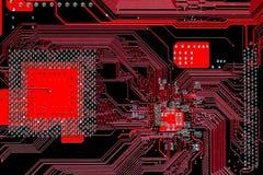 Carte mère multi électronique de circuit imprimé de rouge de couche Images stock