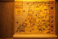 Carte médiévale des territoires de la Hollande Muidenslot, Hollande photos libres de droits