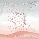 Carte mathématique éducative avec les courbes algébriques sous forme de feuilles d'érable et de tilleul illustration de vecteur