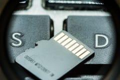 Carte micro noire d'écart-type avec des contacts d'or sur la clé avec la lettre S et la lettre D photographie stock