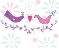 Carte mignonne avec des paires d'oiseaux Photos libres de droits