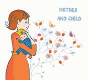 Carte mignonne avec la mère et le bébé Photos libres de droits