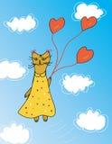 Carte mignonne avec le chat Image stock