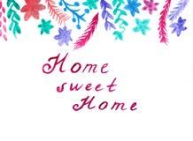 Carte mignonne colorée florale d'aquarelle Image stock