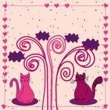 Carte mignonne d'amour avec des chats Photos stock