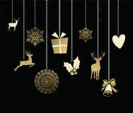 Carte mignonne d'or de cerfs communs de décoration de Noël de vacances illustration de vecteur