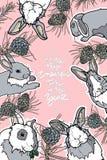 Carte mignonne d'hiver avec des cônes de lapin et de pin Photo libre de droits