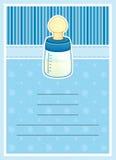 Carte mignonne d'invitation de fête de naissance. Biberon Photos stock