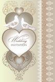 Carte mignonne d'invitation de mariage avec le coeur Photographie stock libre de droits