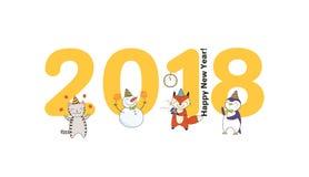 Carte mignonne de nouvelle année, bannière Images libres de droits
