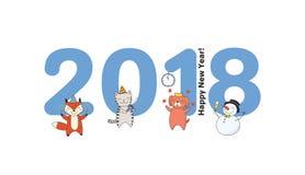 Carte mignonne de nouvelle année, bannière Photos stock