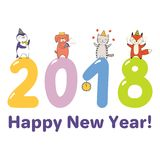 Carte mignonne de nouvelle année, bannière Photo libre de droits