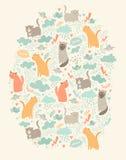 Carte mignonne de vecteur de chats Photo libre de droits