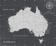 Carte minimale de l'Australie avec des couleurs foncées illustration stock