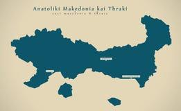 Carte moderne - Anatoliki Makedonia Kai Thraki Greece GR illustration libre de droits