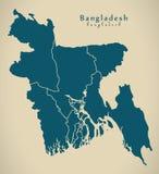 Carte moderne - Bangladesh avec les divisions BD Photographie stock libre de droits
