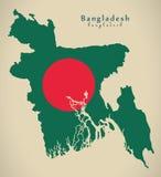 Carte moderne - Bangladesh BD coloré par drapeau Photographie stock libre de droits