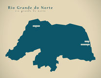 Carte moderne - BR Brésil du Rio Grande do Norte illustration libre de droits