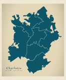 Carte moderne de ville - ville de Charlotte North Carolina des Etats-Unis avec illustration de vecteur