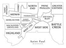 Carte moderne de ville - ville de Paul Minnesota de saint des Etats-Unis avec le neig illustration stock
