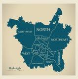 Carte moderne de ville - ville de Raleigh North Carolina des Etats-Unis avec du Ne illustration stock