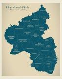 Carte moderne - carte du Rhénanie-Palatinat de l'Allemagne avec des comtés et des labels illustration libre de droits