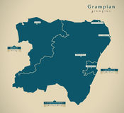 Carte moderne - Grampian R-U Ecosse Photos libres de droits
