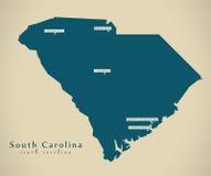 Carte moderne - illustration de la Caroline du Sud Etats-Unis illustration libre de droits