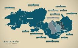 Carte moderne - sud du pays de Galles R-U illustration libre de droits