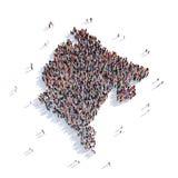 Carte Monténégro de forme de groupe de personnes Image stock