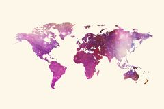 Carte multicolore artistique du monde de résumé sur un fond blanc illustration stock