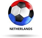 Carte néerlandaise avec du ballon de football en couleurs de drapeau national illustration de vecteur